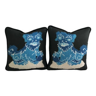 Chinese Turquoise Blue Fu Dogs Feather Down Pillows - a Pair, Original Textile Art For Sale