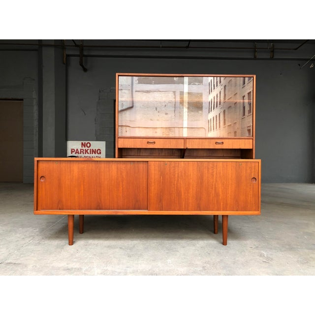 Hans Wegner for Ry Møbler Teak Sideboard Credenza With Hutch - Mid Century Danish Modern Teak China Cabinet Glass Display Case For Sale - Image 13 of 13