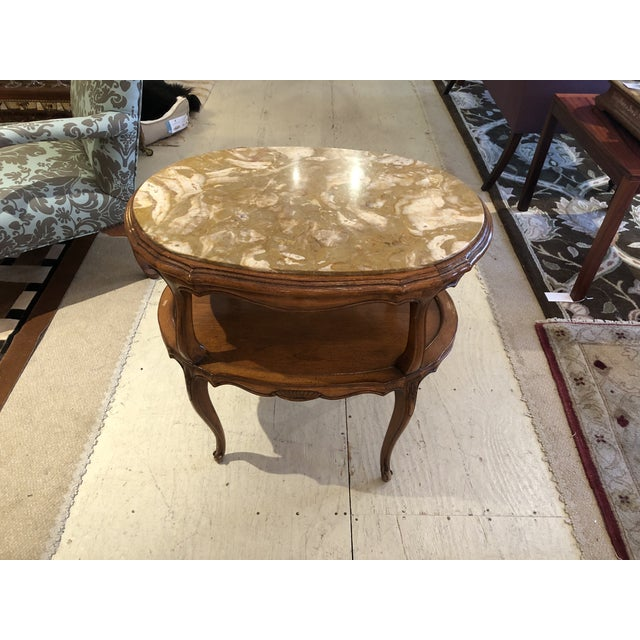 French Provincial Style Marble Inset Two-Tier Fruitwood Oval Side Table For Sale - Image 11 of 13