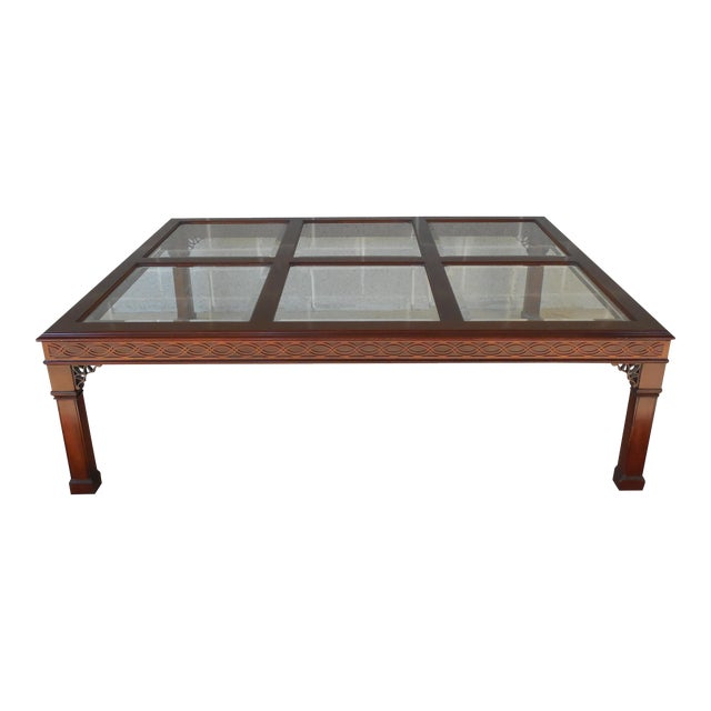 Kindel Chippendale Style Mahogany Coffee Table For Sale