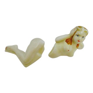 Art Deco Bathing Beauty Salt and Pepper Shakers Nude For Sale
