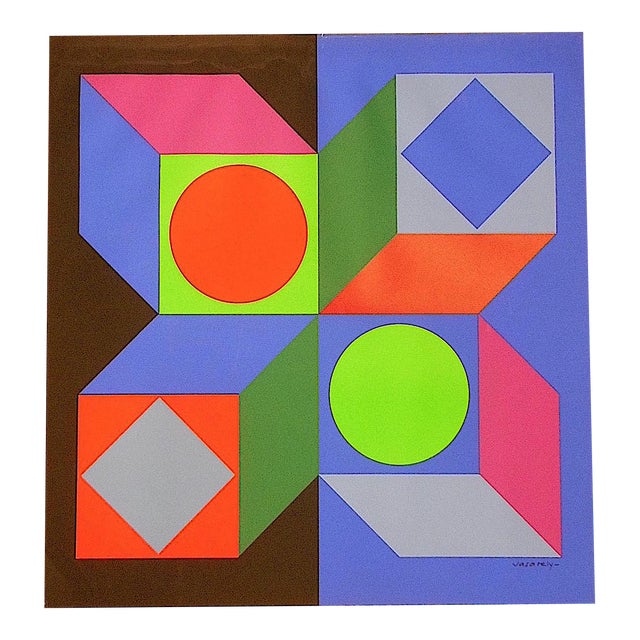 Vintage Vasarely Screenprint - Image 1 of 3