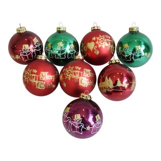 Colorful Christmas Tree Ornaments - Set of 8 For Sale