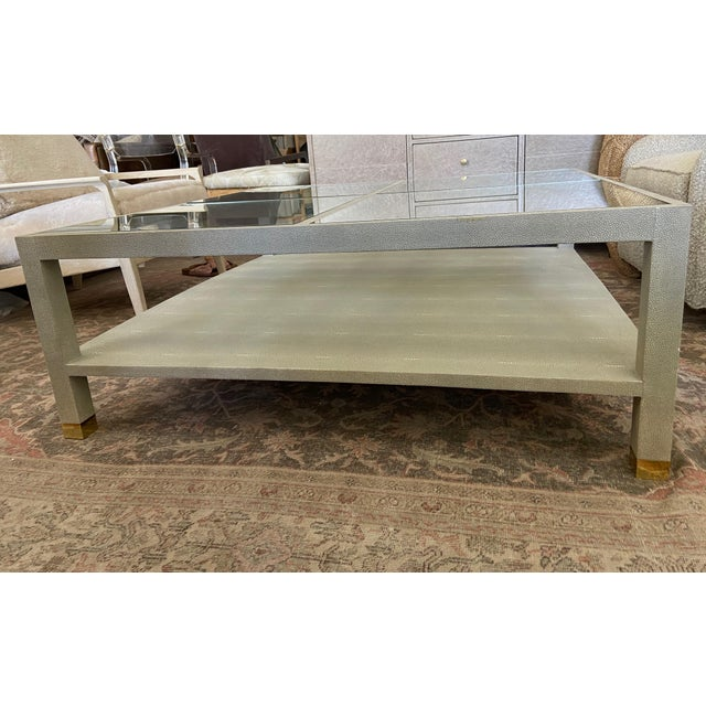 Large Square Faux Shagreen Coffee Table For Sale In Los Angeles - Image 6 of 8