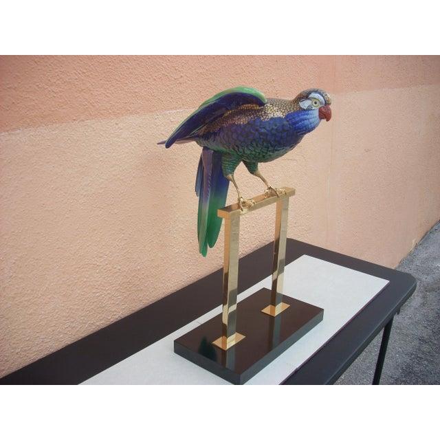 Green & Brass Parrot Sculpture - Image 2 of 7