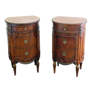 Early 20th Century Antique Sligh Louis XV Style Demi-Lune Nightstands - A Pair For Sale