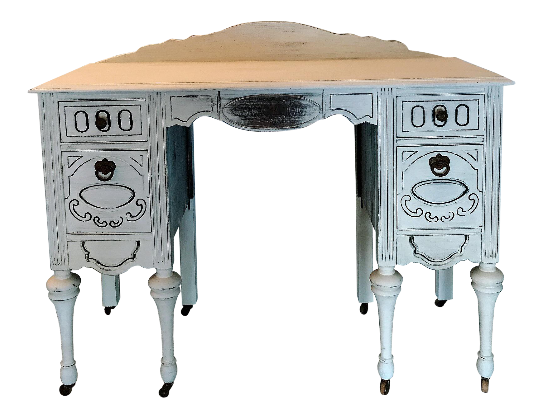 Bon Antique Shabby Chic French Vanity Table/Study Desk/Home Office Table On  Casters | Chairish
