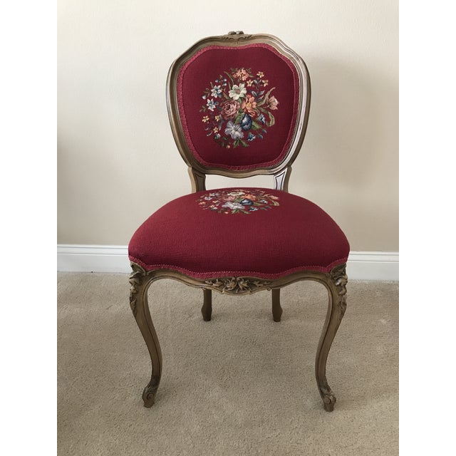 Antique Petit Point Embroidered Chair - Image 2 of 4