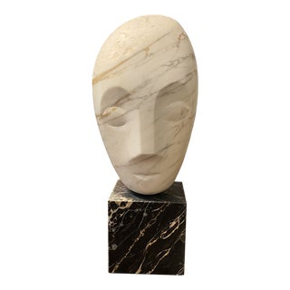 Brancusi Style Abstract Bust in Calacatta Gold Marble on Veined Portoro Marble Plinth For Sale