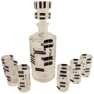 Art Deco Czech Decanter and Glasses For Sale