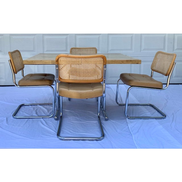 1980s Bauhaus Wicker and Chrome Dining Set - 5 Pieces For Sale - Image 12 of 13