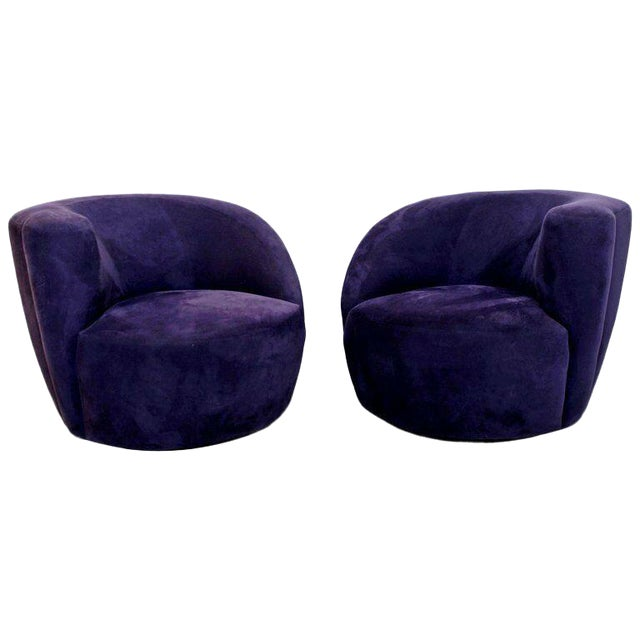1980s Vintage Contemporary Vladimir Kagan Corkscrew Swivel Chairs- A Pair For Sale