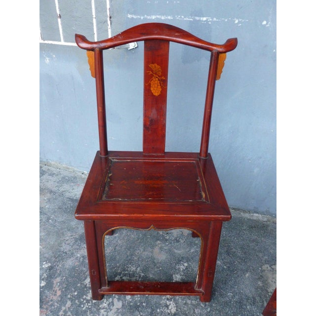 Pair of 19th Century Red Lacquer Ming Chairs For Sale - Image 11 of 13