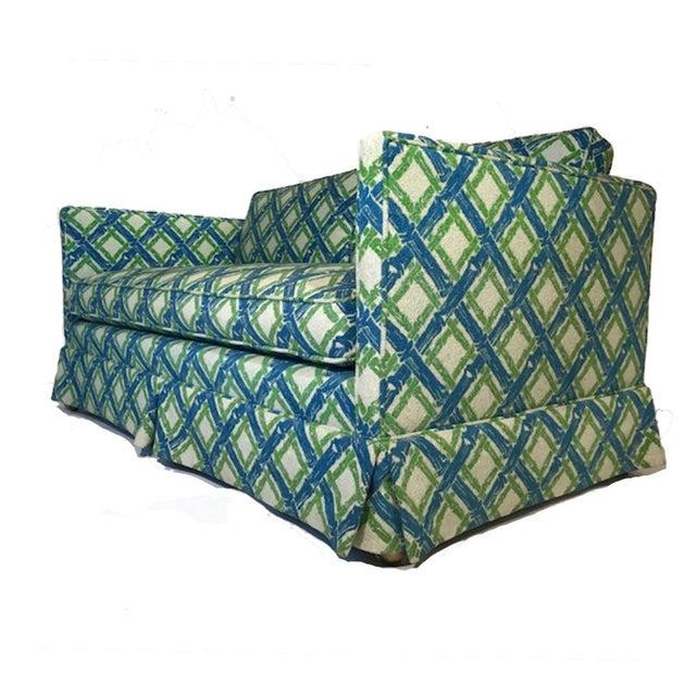 Mid-Century Modern Pair of Regency Chinoiserie Tuxedo Settees in Lattice Bamboo Upholstery For Sale - Image 3 of 13