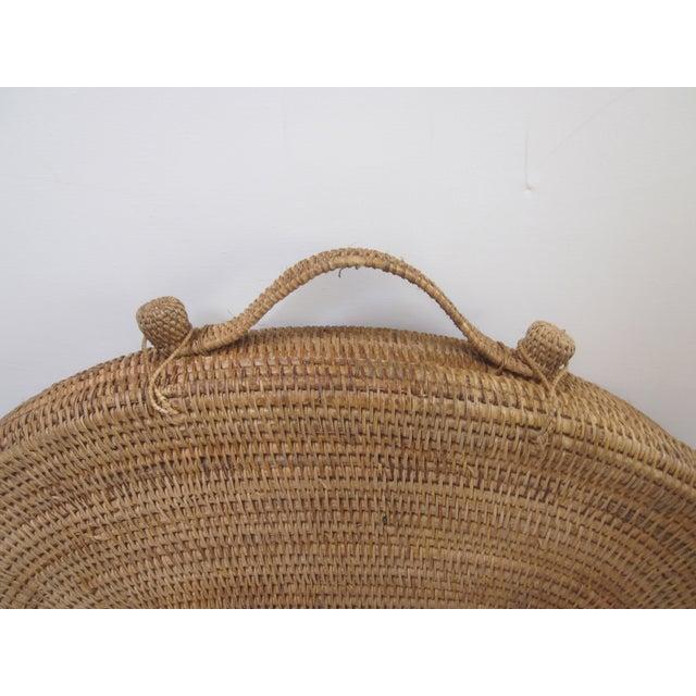 Large Oversized Vintage Oval Lidded Woven Storage Basket For Sale - Image 5 of 8