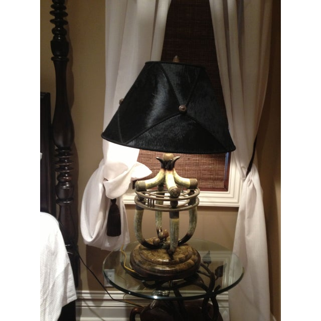 Maitland-Smith Faux Horn Table Lamp - Image 2 of 5