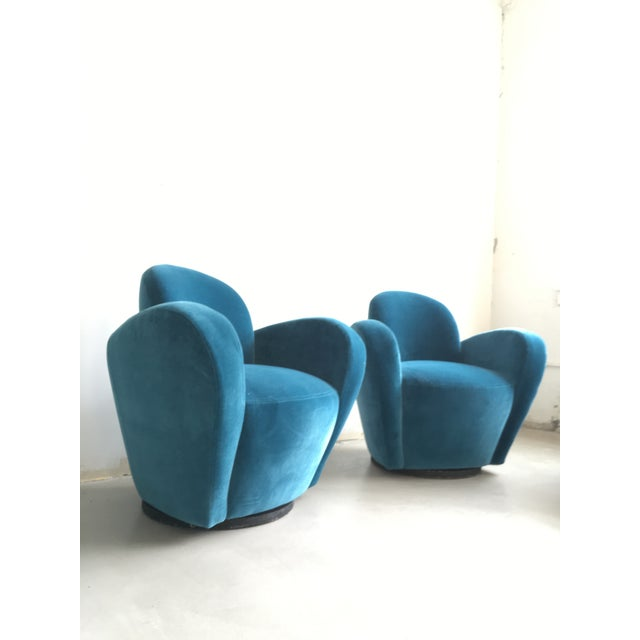 Recovered in a Teal-Blue wool and cotton velvet, this pair of rare Vladimir Kagan swivels are stunning. This chair was...