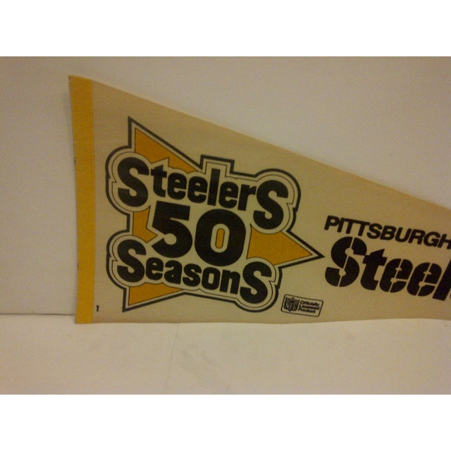 "Vintage NFL ""Steelers 50 Seasons"" Team Pennant 1982 For Sale - Image 4 of 6"