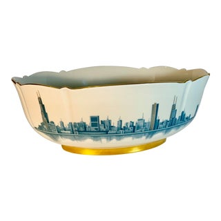 1980s Chicago Skyline Bowl by Pickard China for c.d. Peacock For Sale