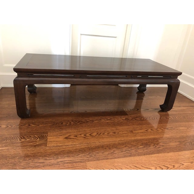 Wood Asian Custom Walnut Coffee Table For Sale - Image 7 of 11