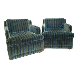 Hollywood Regency Navy and Dark Green Velour Striped Armchairs For Sale