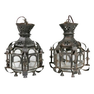 Moroccan Tole Hall Lanterns - a Pair For Sale