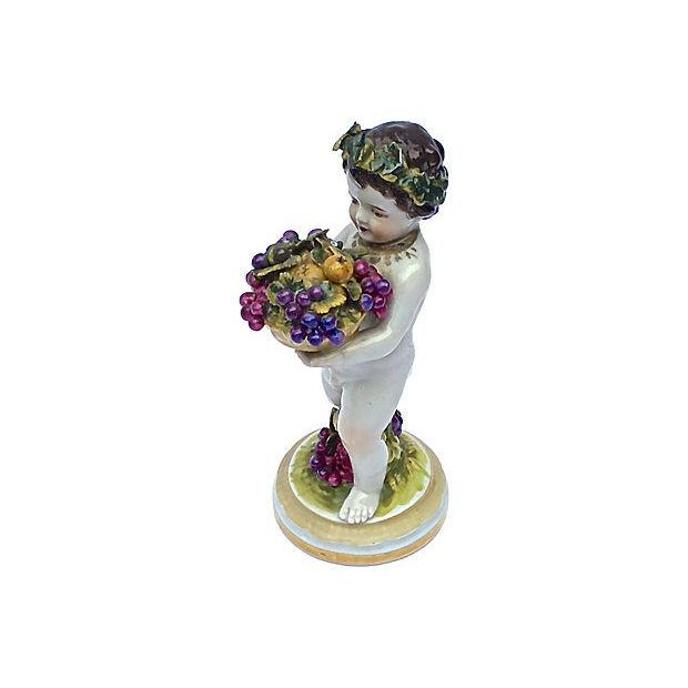 Art Nouveau Meissen Antique Porcelain Cherub Figurine For Sale - Image 3 of 6
