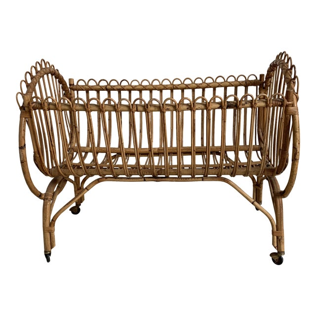 20th Century Boho Chic Rattan Bamboo Bassinet/Crib For Sale