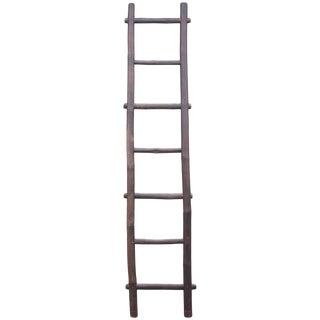 Folky 19th Century Bamboo Handmade Textile Ladder