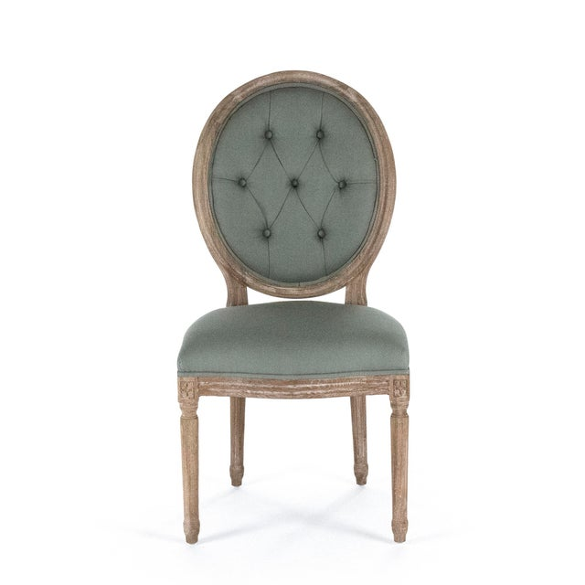 French Country Everest Medallion Side Chair in Sage For Sale - Image 3 of 3