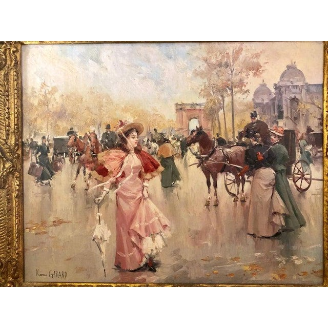 French Oil on Canvas by Karine Girard 'French 1965' or a Paris Street Scene For Sale - Image 12 of 13