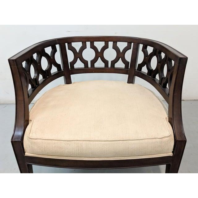 Wood 1970s Vintage Hollywood Regency Lattice Barrel Back Lounge Chair For Sale - Image 7 of 13