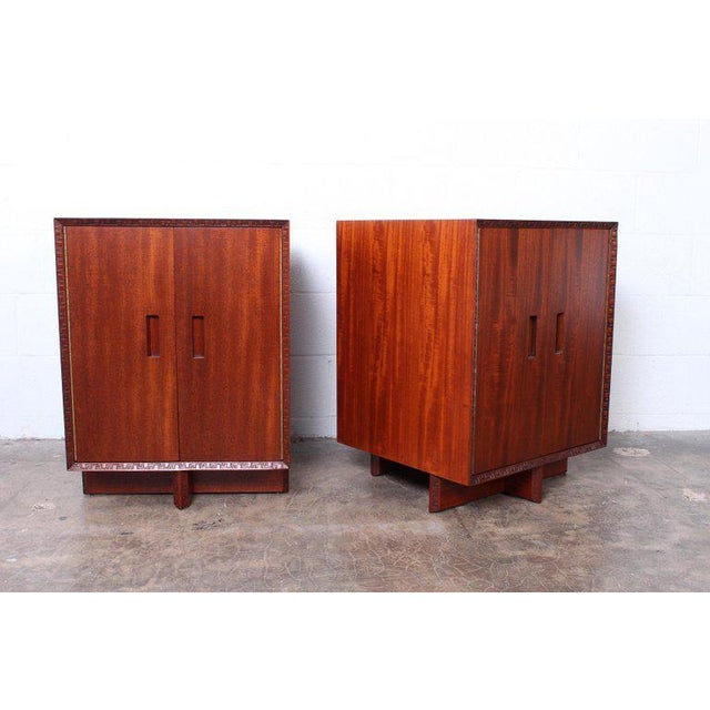 """Brown Frank Lloyd Wright """"Taliesin"""" Nightstands for Henredon For Sale - Image 8 of 11"""