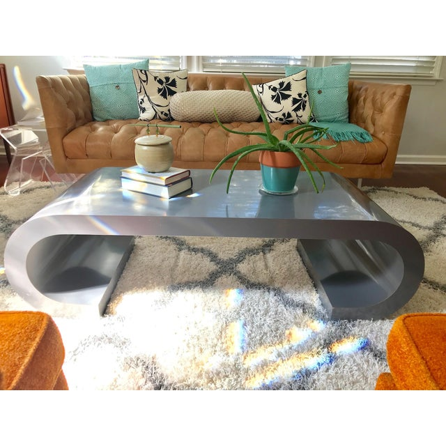 Gray Mid-Century Modern Scroll Coffee Table Attributed to Karl Springer For Sale - Image 8 of 11