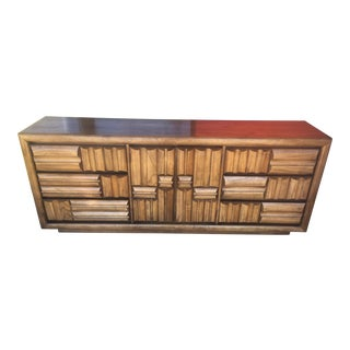1960s Mid Century Modern Brutalist Paul Evans Style Patchwork Dresser For Sale