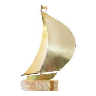 Vintage Brass Sailboat Sculpture
