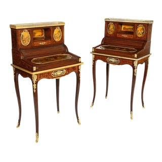 Pair of Louis XVI Style Bronze and Vernis Martin Bonheur Du Jours, P.E Guerin NY For Sale