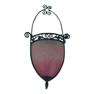 Schneider Art Glass, Wrought Iron Wall Sconce, French, and as Usual, Fabulous For Sale