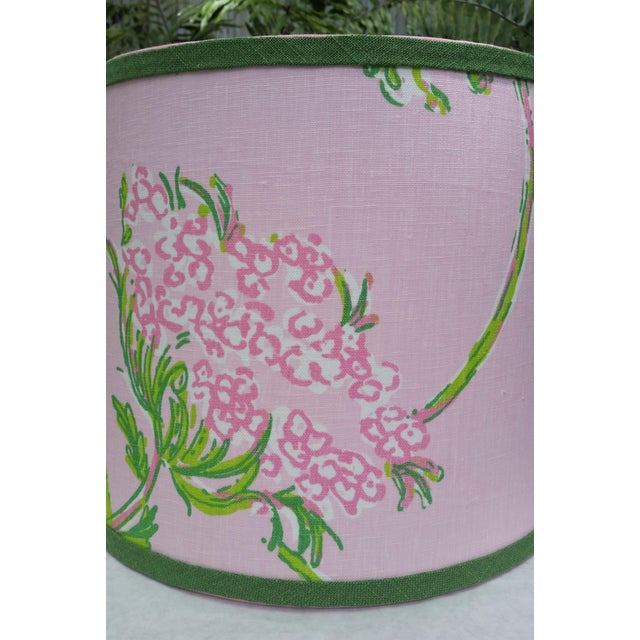 Lilly Pulitzer Fabric Pink, Green Tapered Drum Lampshade For Sale - Image 4 of 12