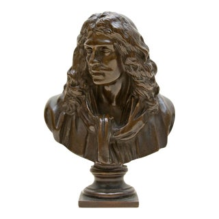 17th Century French Bronze Playwright Molière Bust For Sale