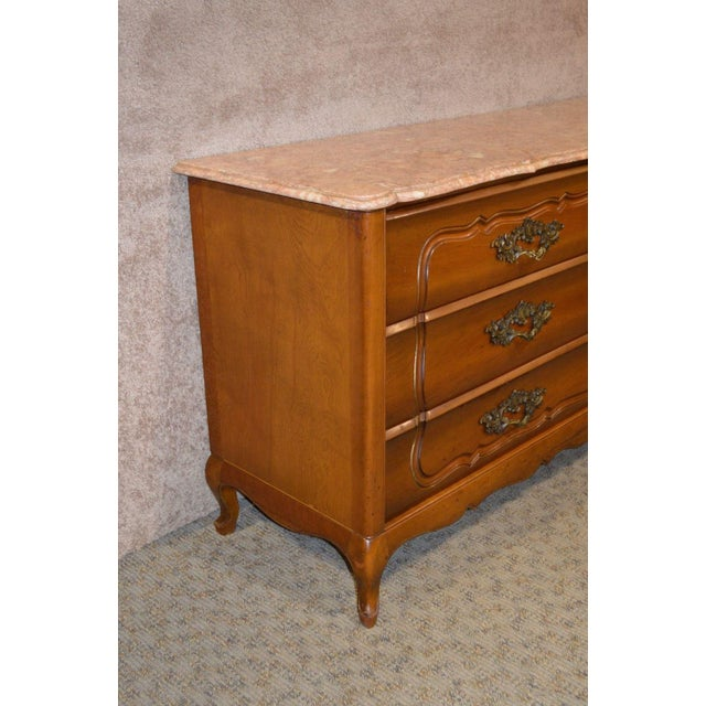 1950s French Provincial Solid Cherry Marble Top Dresser For Sale - Image 10 of 13