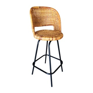 Swivel Wicker Bar Stools in the Seng of Chicago Style, Set of 3 Preview