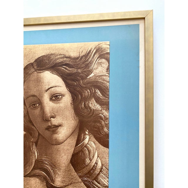 "Sky Blue "" Botticelli Birth of Venus "" Rare Vintage 1935 Mourlot Lithograph Print Art Deco Framed French Exhibition Poster For Sale - Image 8 of 13"