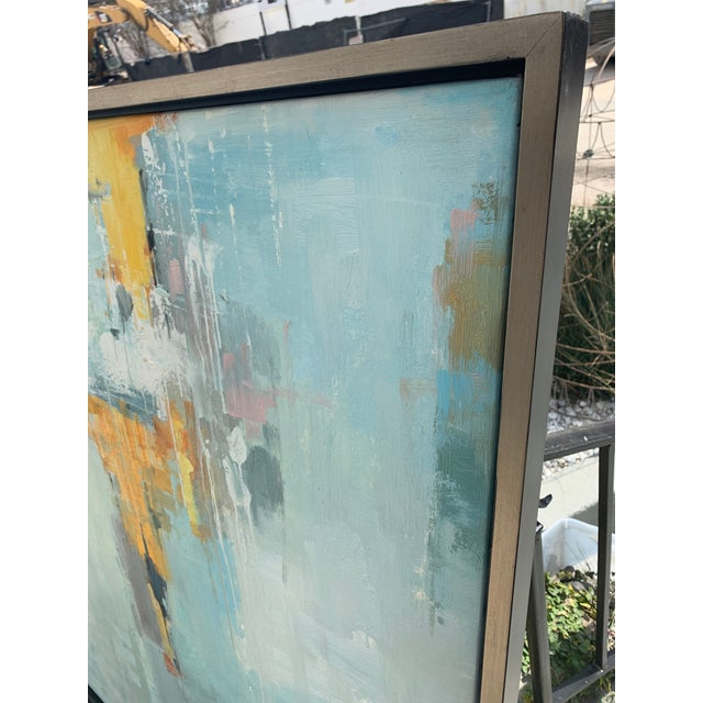 Abstract Original Abstract Oil on Canvas in Floating Silver Gilt Frame For Sale - Image 3 of 12