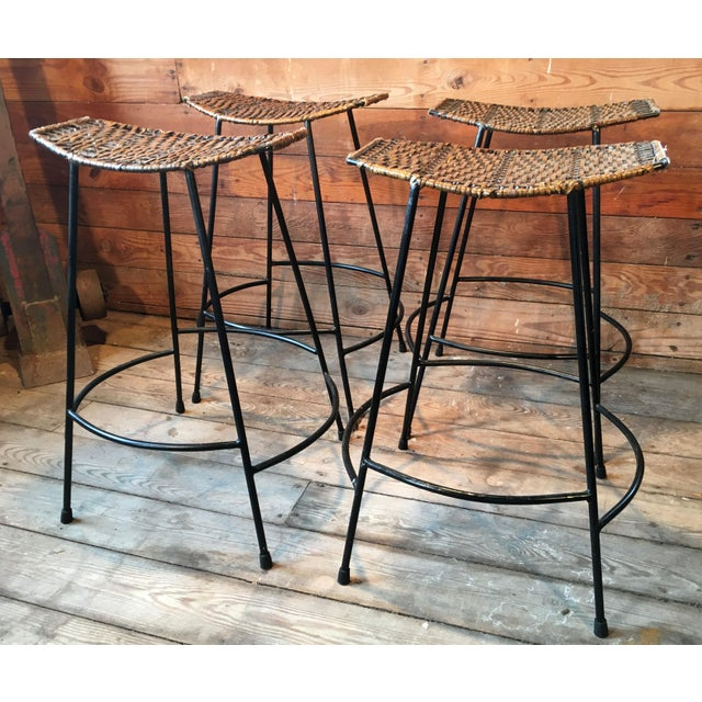 Fabulous set of 4 vintage Arthur Umanoff counter height bar stools! This a timeless design, with excellent quality wrought...