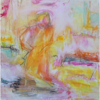"""Monk in the Garden"" by Trixie Pitts Large Abstract Expressionist Oil Painting For Sale"