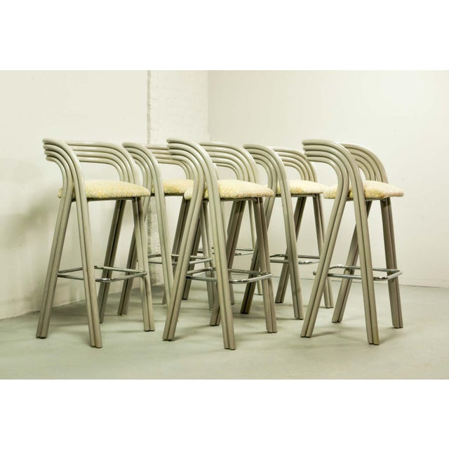 Set of Six Mid-Century Dutch Design Luxurious Bamboo Barstools by Axel Enthoven for Rohé Holland, 1980's For Sale - Image 13 of 13