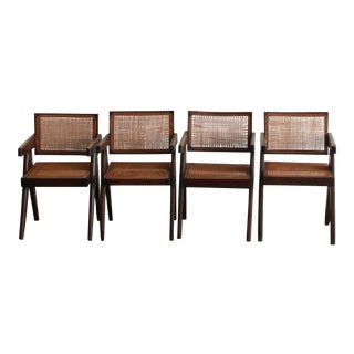 """Authentic 1955-57 Pierre Jeanneret Caned """"Office Armchairs"""" - Set of 4 For Sale"""