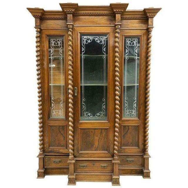 Stunning French Louis Philippe Twist Column Bookcase, 19th Century (1800s)!! French Louis Philippe carved walnut...