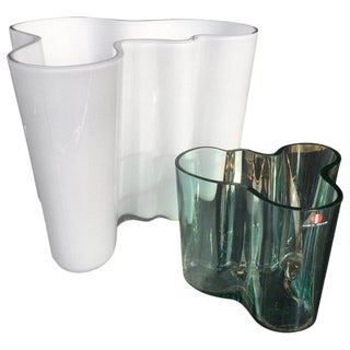 Early Alvar Aalto White and Green Glass Vases - a Pair For Sale